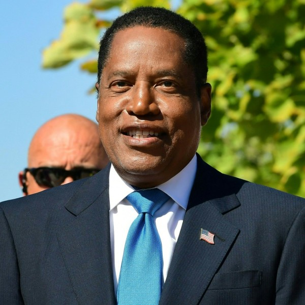 Gubernatorial recall candidate Larry Elder speaks at an event in Monterey Park, California on September 13, 2021, on the last day before voters go to the polls on September 14 for the recall election of California Governor Gavin Newsom. (FREDERIC J. BROWN/AFP via Getty Images)