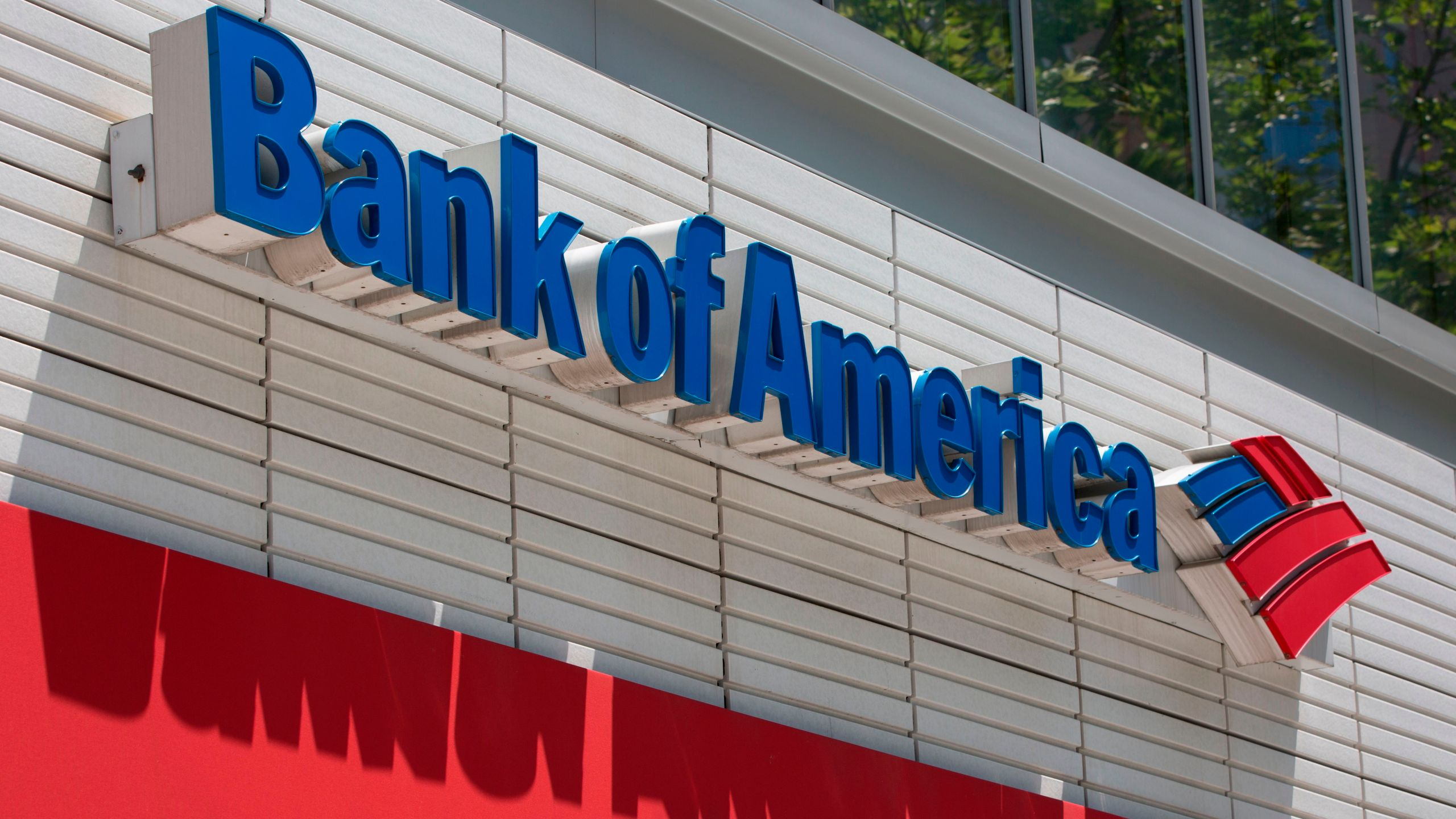 The Bank of America logo is seen outside a branch in Washington, DC, on July 9, 2019. (ALASTAIR PIKE/AFP via Getty Images)