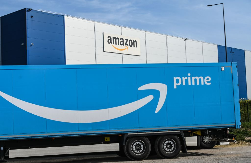 An Amazon delivery truck is parked outside the Amazon logistics centre in Lauwin-Planque, northern France. (Denis Charlet/AFP via Getty Images)