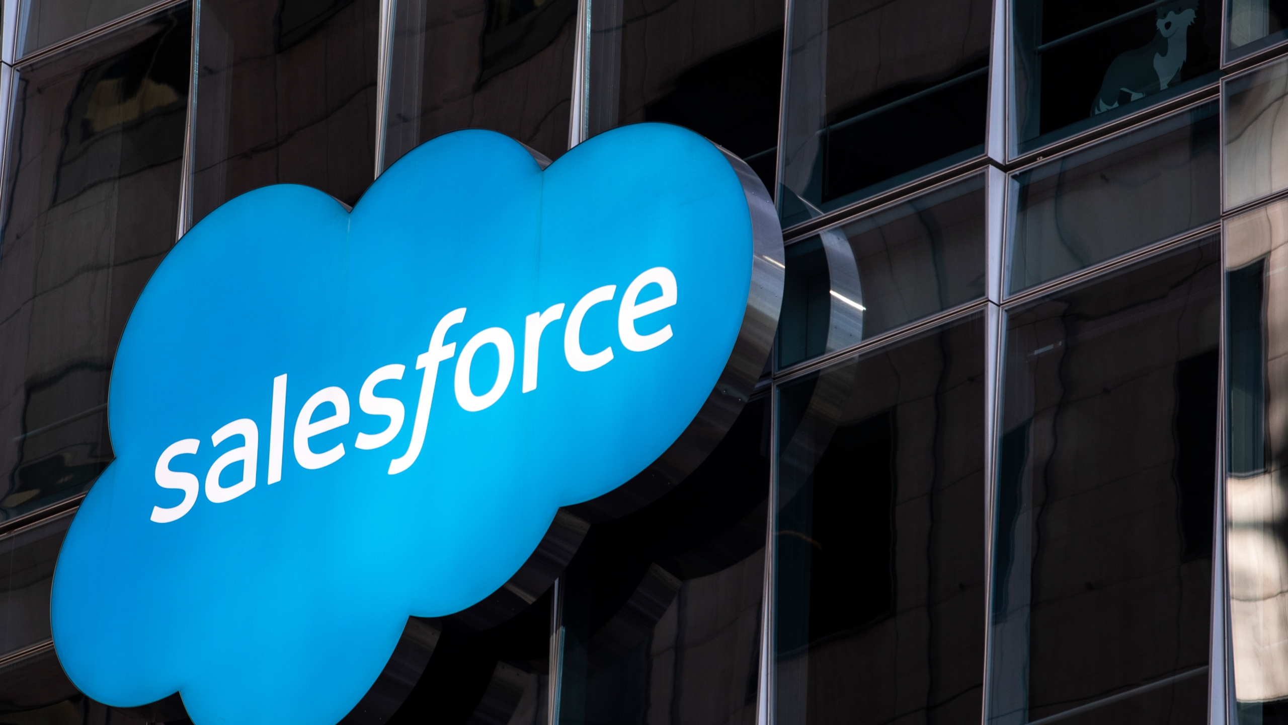 The Salesforce logo is seen at its headquarters on December 1, 2020 in San Francisco, California. (Stephen Lam/Getty Images)