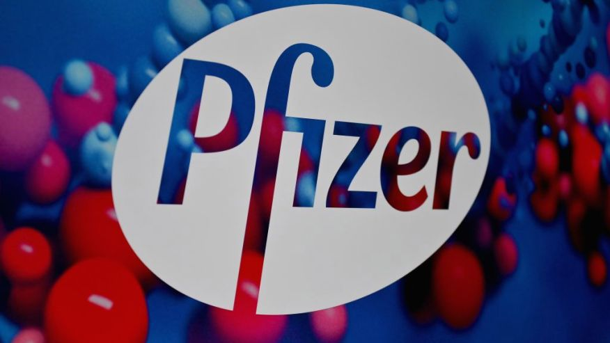 The Pfizer logo is seen at the Pfizer Inc. headquarters on Dec. 9, 2020, in New York City. (ANGELA WEISS/AFP via Getty Images)