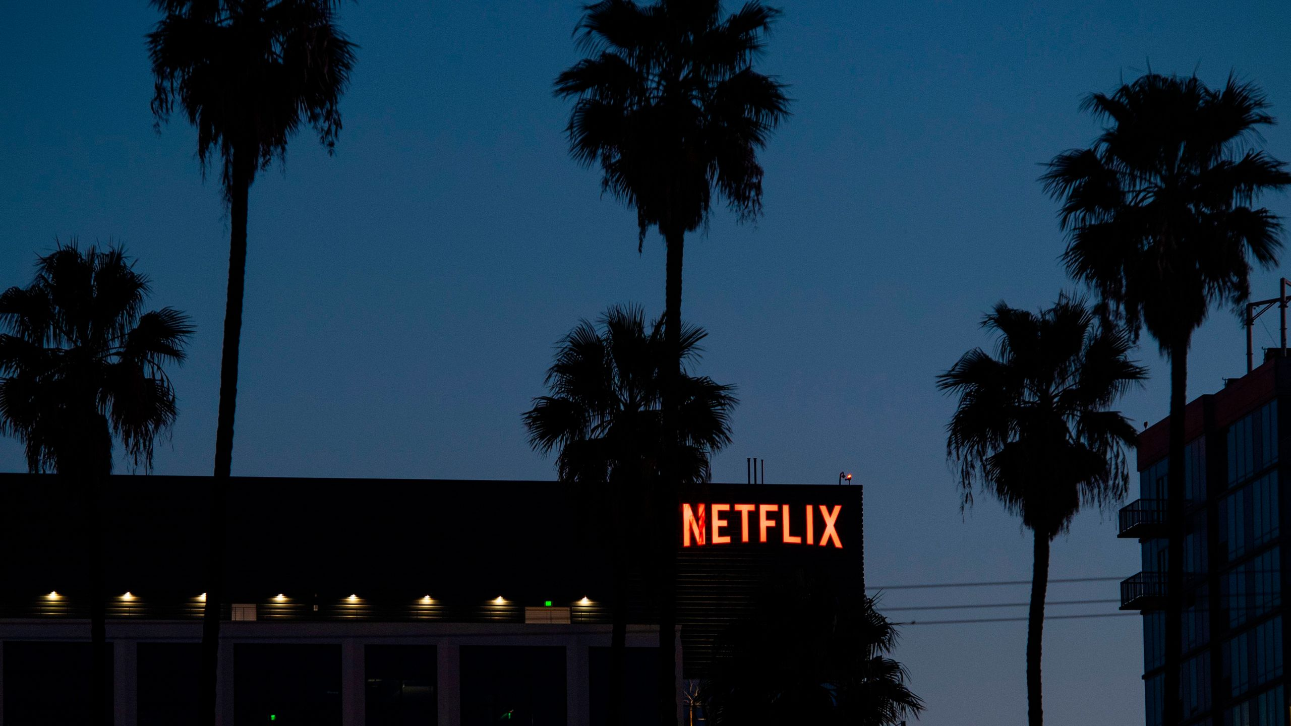 The Netflix logo sign is seen on top of its office building on Feb. 4, 2021 in Hollywood, California. (VALERIE MACON/AFP via Getty Images)