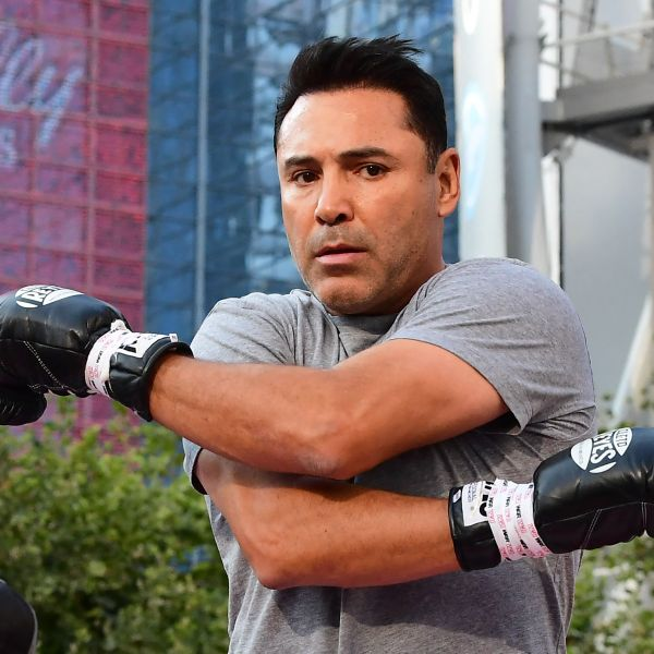 U.S. Olympics Gold medalist professional boxer Oscar De La Hoya stretches before sparring with his partner during a media workout in Los Angeles, California on Aug. 24, 2021. (FREDERIC J. BROWN/AFP via Getty Images)