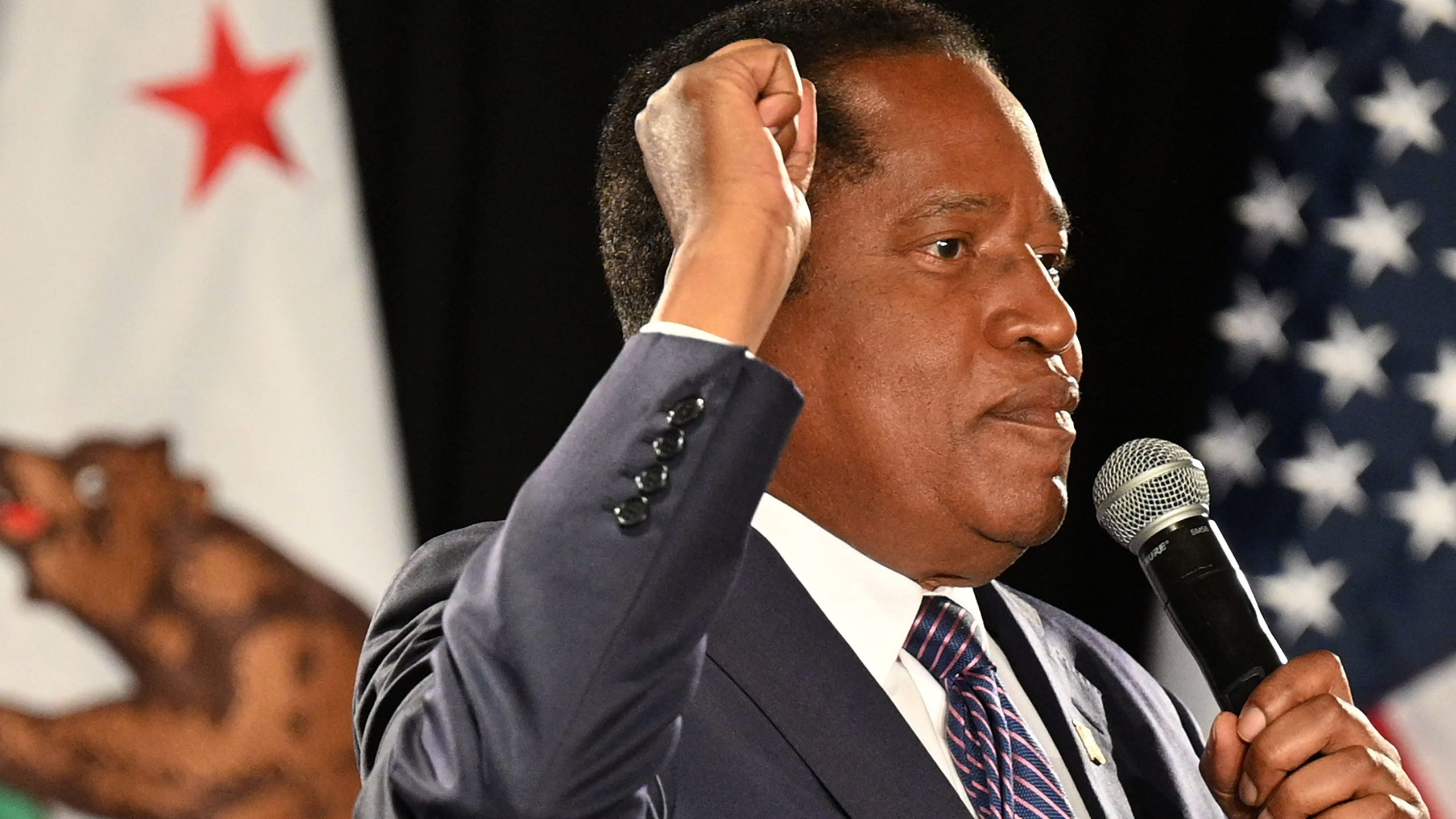 California gubernatorial recall election candidate Larry Elder speaks at his election night party in Costa Mesa on Sept. 14, 2021. (Robyn Beck / AFP / Getty Images)