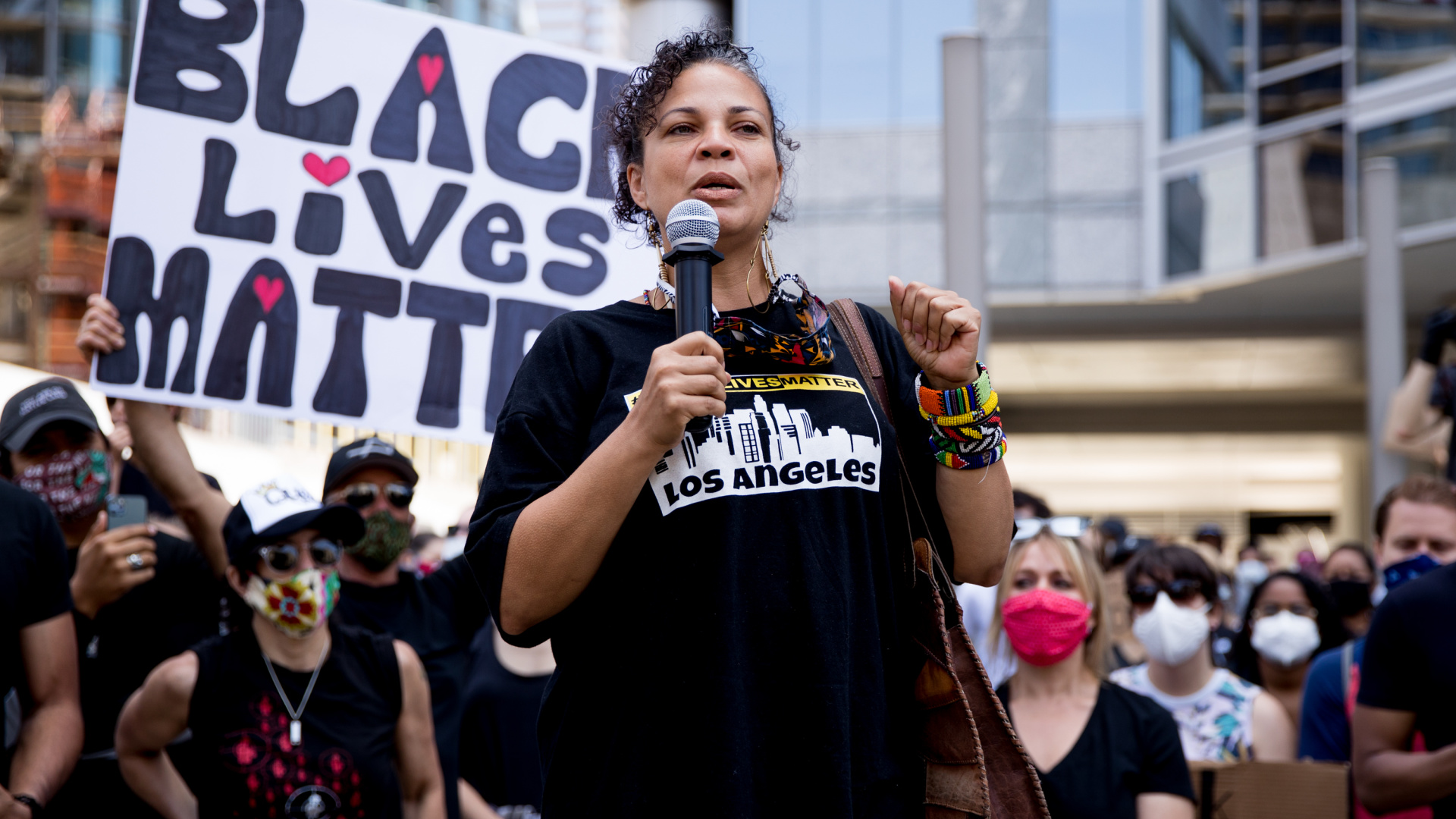 Melina Abdullah speaks during a demonstration to support Black Lives Matter protests on June 6, 2020 in Beverly Hills. (Rich Fury/Getty Images)