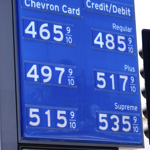 Gas prices are displayed at a Chevron station on June 14, 2021 in Los Angeles. (Mario Tama/Getty Images)