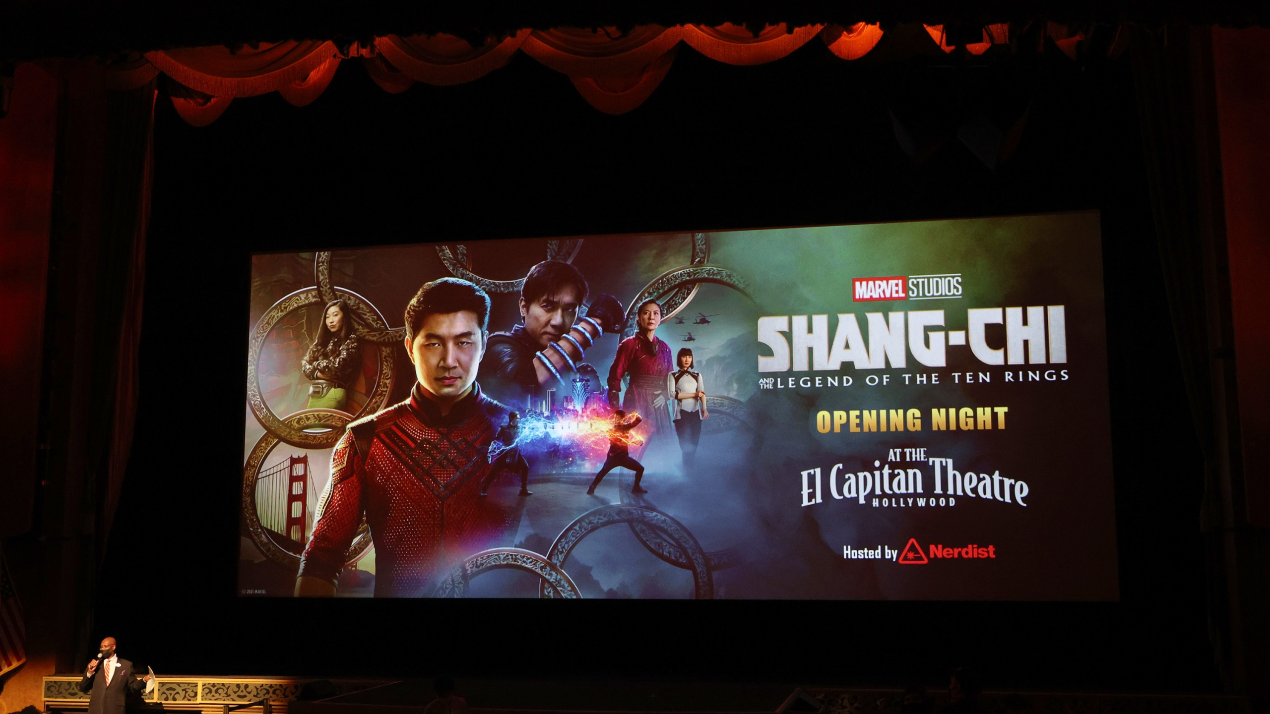 """The theatre screen is shown at a special screening Marvel Studio's """"Shang-Chi and The Legend of The Ten Rings"""" at El Capitan Theatre in Hollywood on Sept. 2, 2021. (Kevin Winter/Getty Images)"""