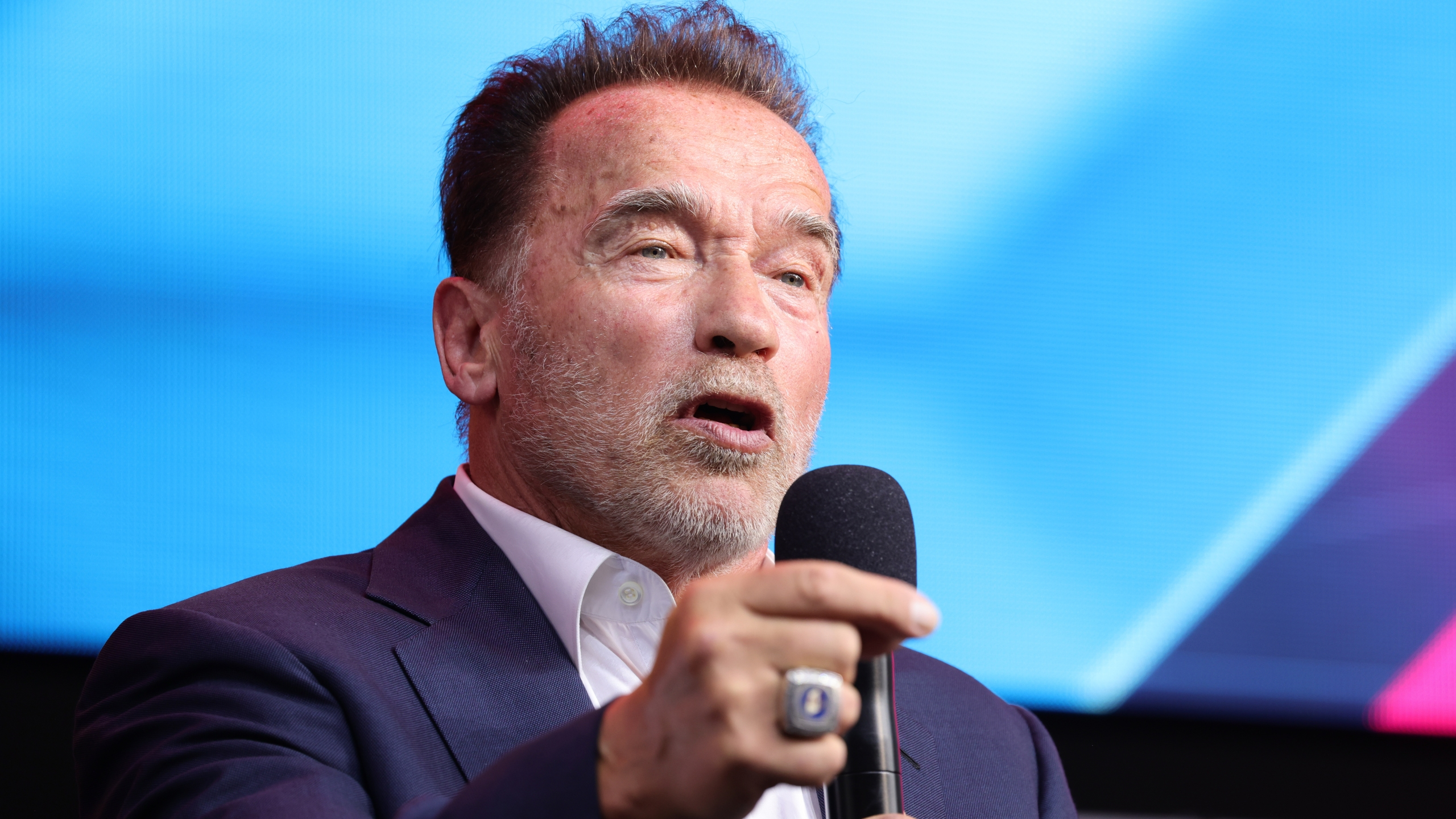 Arnold Schwarzenegger speaks in his keynote about digital sustainability during the Digital X event on September 07, 2021 in Cologne, Germany. (Andreas Rentz/Getty Images)