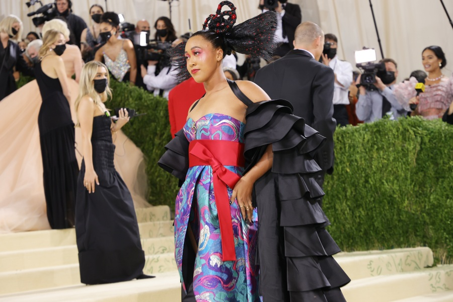 Co-chair Naomi Osaka attends The 2021 Met Gala Celebrating In America: A Lexicon Of Fashion at Metropolitan Museum of Art on Sept. 13, 2021, in New York City. (Mike Coppola/Getty Images)