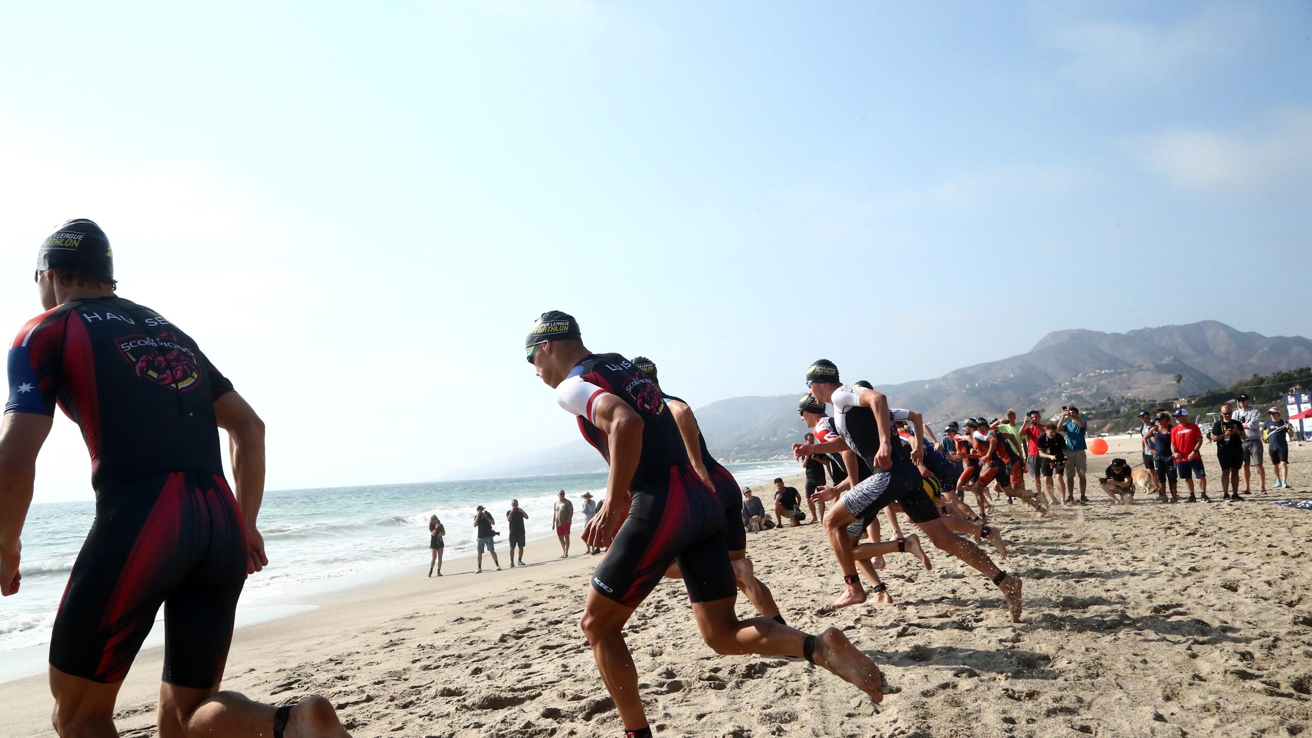 Athletes compete the men's pro Super League Malibu Triathlon, on September 25, 2021 in Zuma Beach, California. (Tommaso Boddi/Getty Images for 2XU Malibu Triathlon)