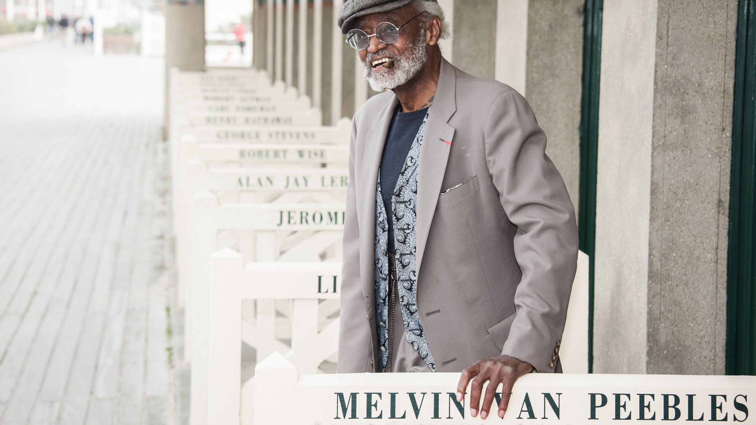 Melvin van Peebles poses next to the beach closet dedicated to him on the Promenade des Planches during the 38th Deauville American Film Festival on Sept. 5, 2012, in Deauville, France. (Francois Durand / Getty Images)