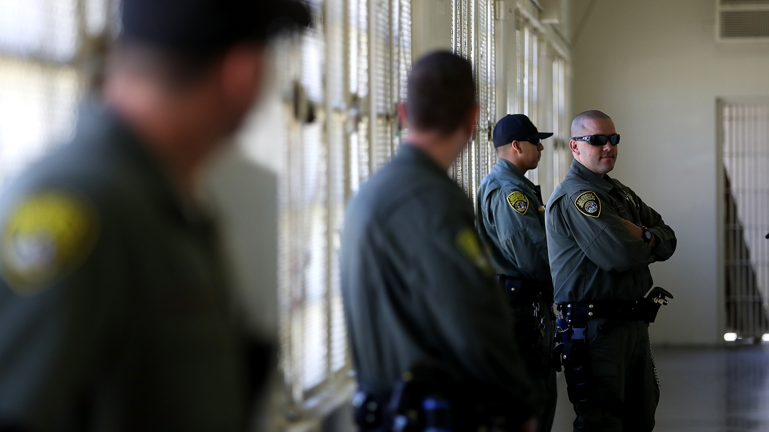 California Department of Corrections and Rehabilitation officers stand guard at San Quentin State Prison's death row adjustment center on Aug. 15, 2016 in San Quentin. (Justin Sullivan/Getty Images)