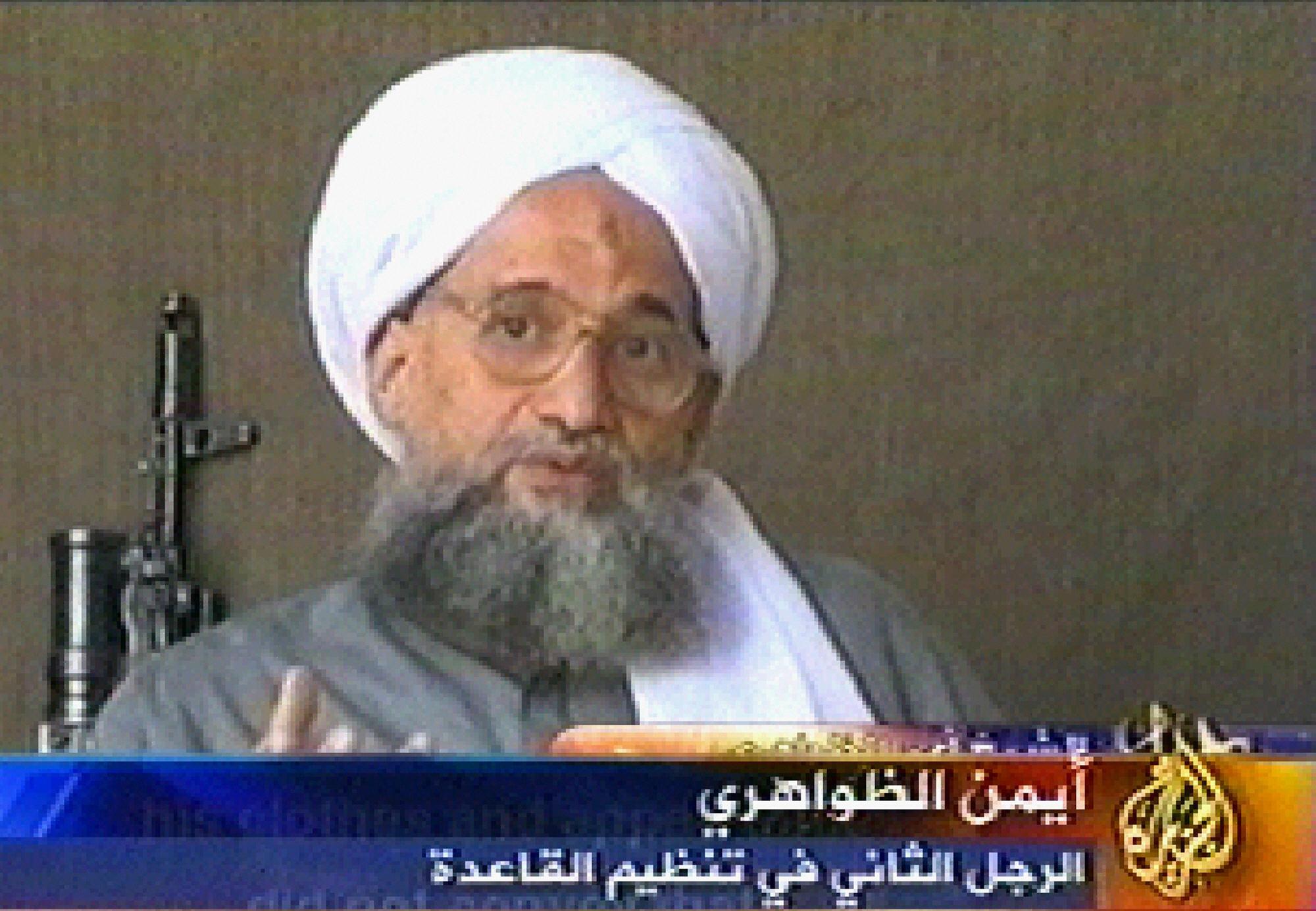 A video grab taken 06 July 2006 from the pan-Arab satellite television network al-Jazeera shows al-Qaeda second-in-command Ayman al-Zawahri. (AFP via Getty Images)