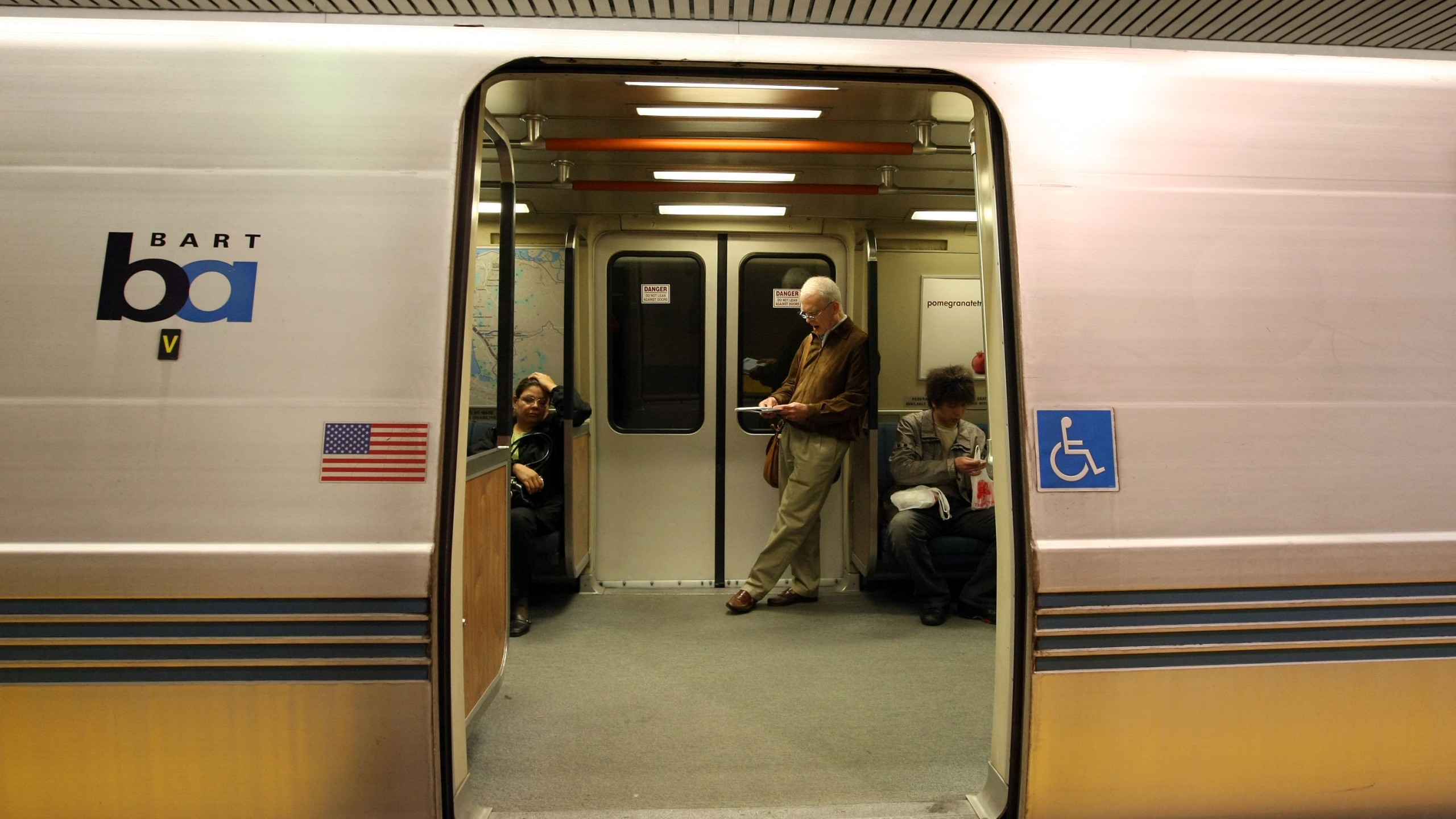 Bay Area Rapid Transit (BART) passengers wait onboard a train at the Powell Street station on May 12, 2008, in San Francisco, California.(Justin Sullivan/Getty Images)
