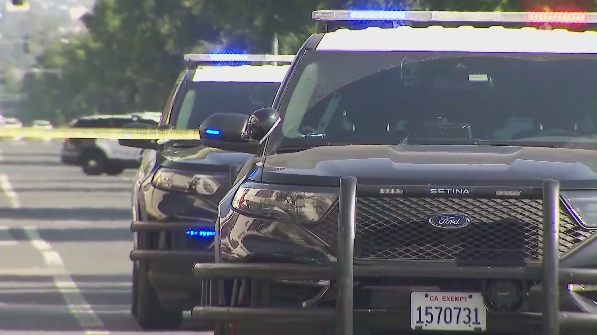 Glendale Police Department officers are investigating a shooting and stabbing on Sept. 19, 2021. (KTLA)