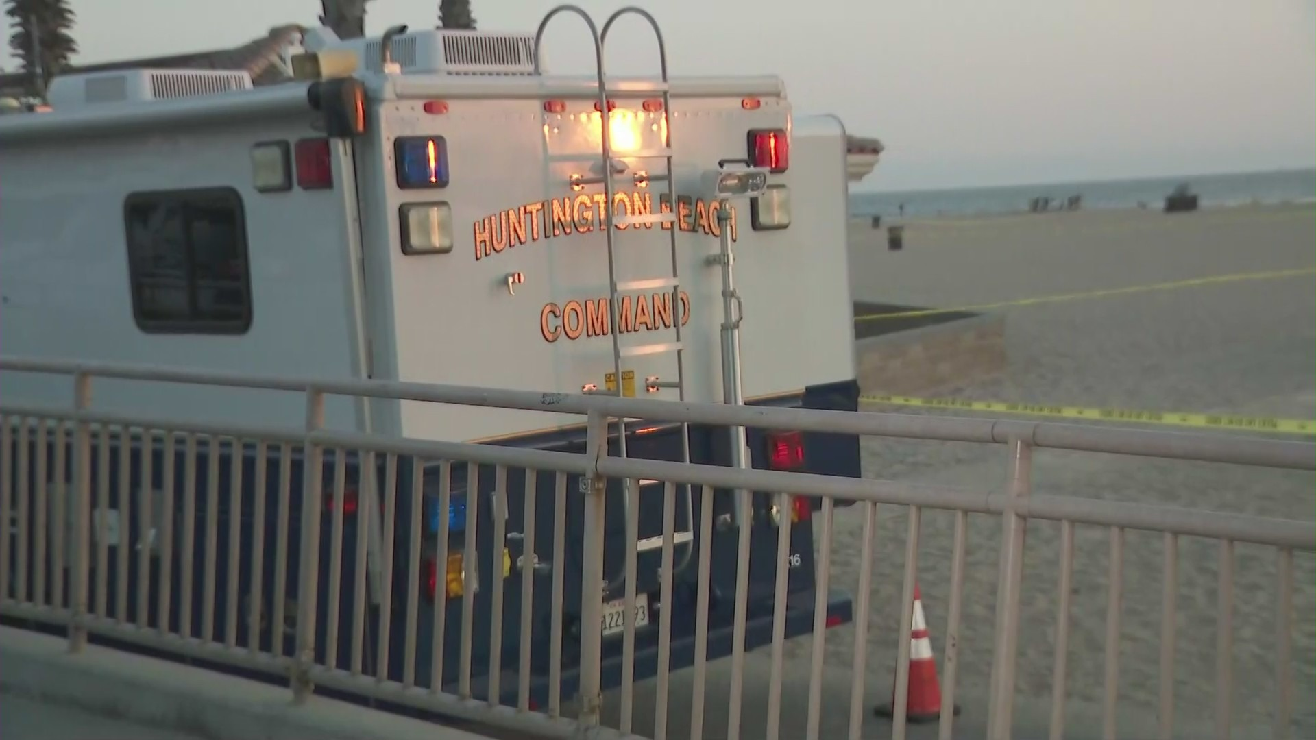 A person was shot in an officer-involved shooting in Huntington Beach on Sept. 25, 2021. (KTLA)