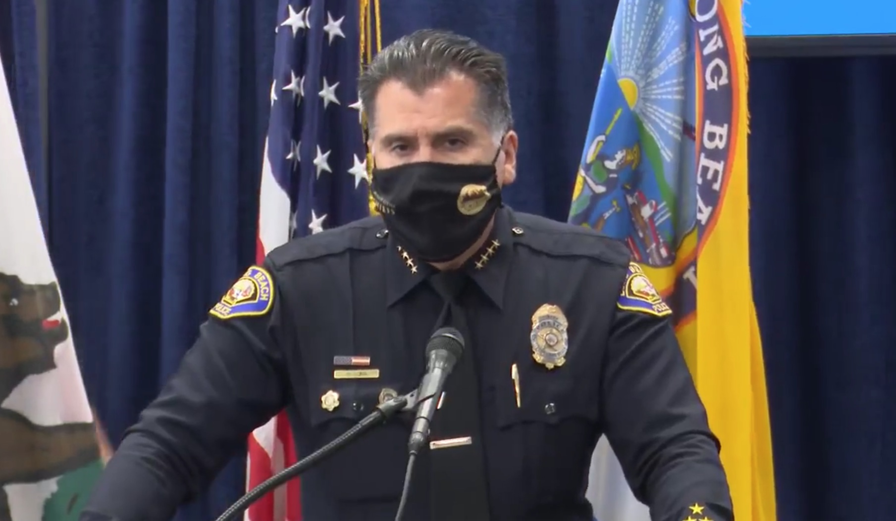 Long Beach Police Chief Robert Luna announces to members of the press that an arrest was made in connection to a shooting last month that left two people dead. Luna is pictured here on Saturday, Sept. 18, 2021.