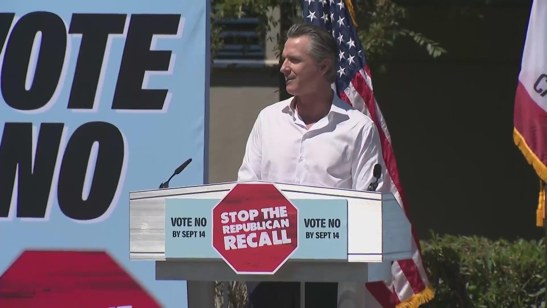 Gov. Gavin Newsom campaigned against the recall effort against him on Sept. 5, 2021. (KTLA)