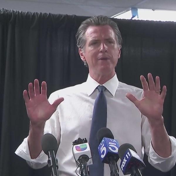 Gov. Gavin Newsom campaigned against the recall in Baldwin Hills on Sept. 6, 2021. (KTLA)