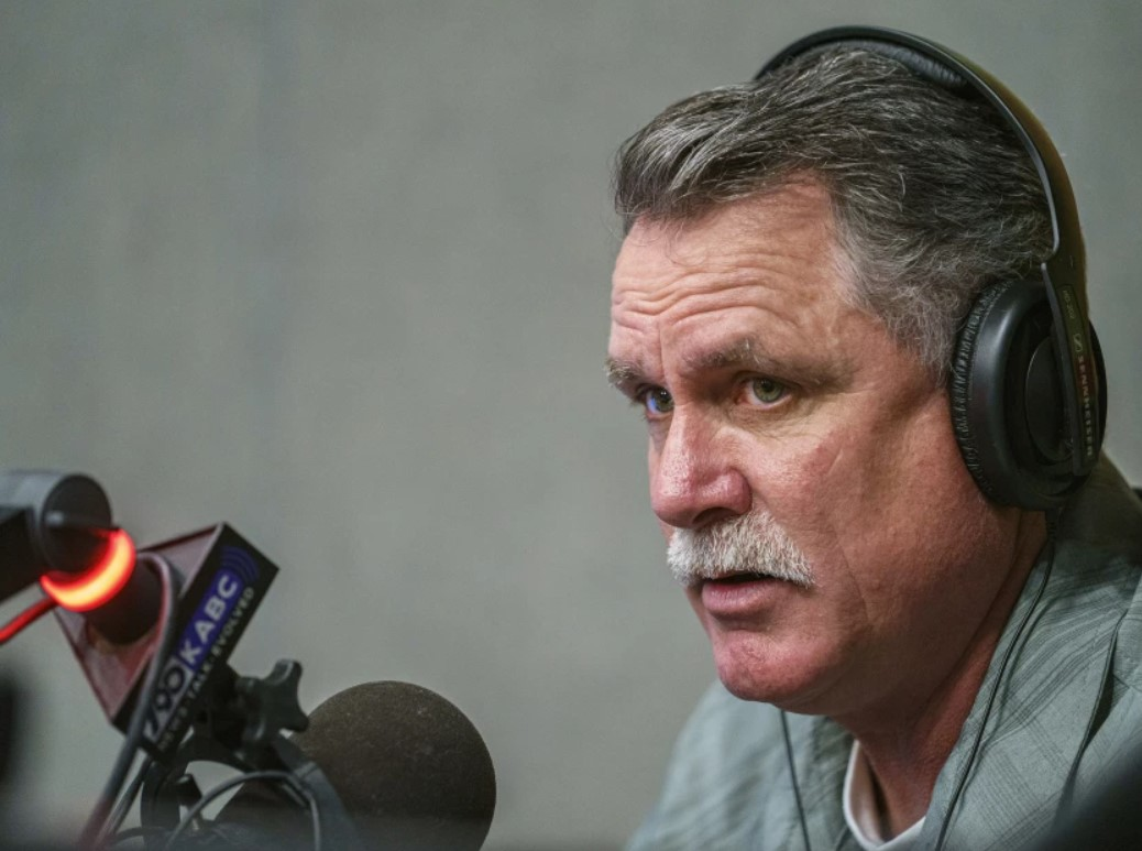 Orrin Heatlie, an early organizer of the effort to recall Gov. Newsom, records a radio program at KABC-AM (790) on March 27, 2021.(Damian Dovarganes / Associated Press)