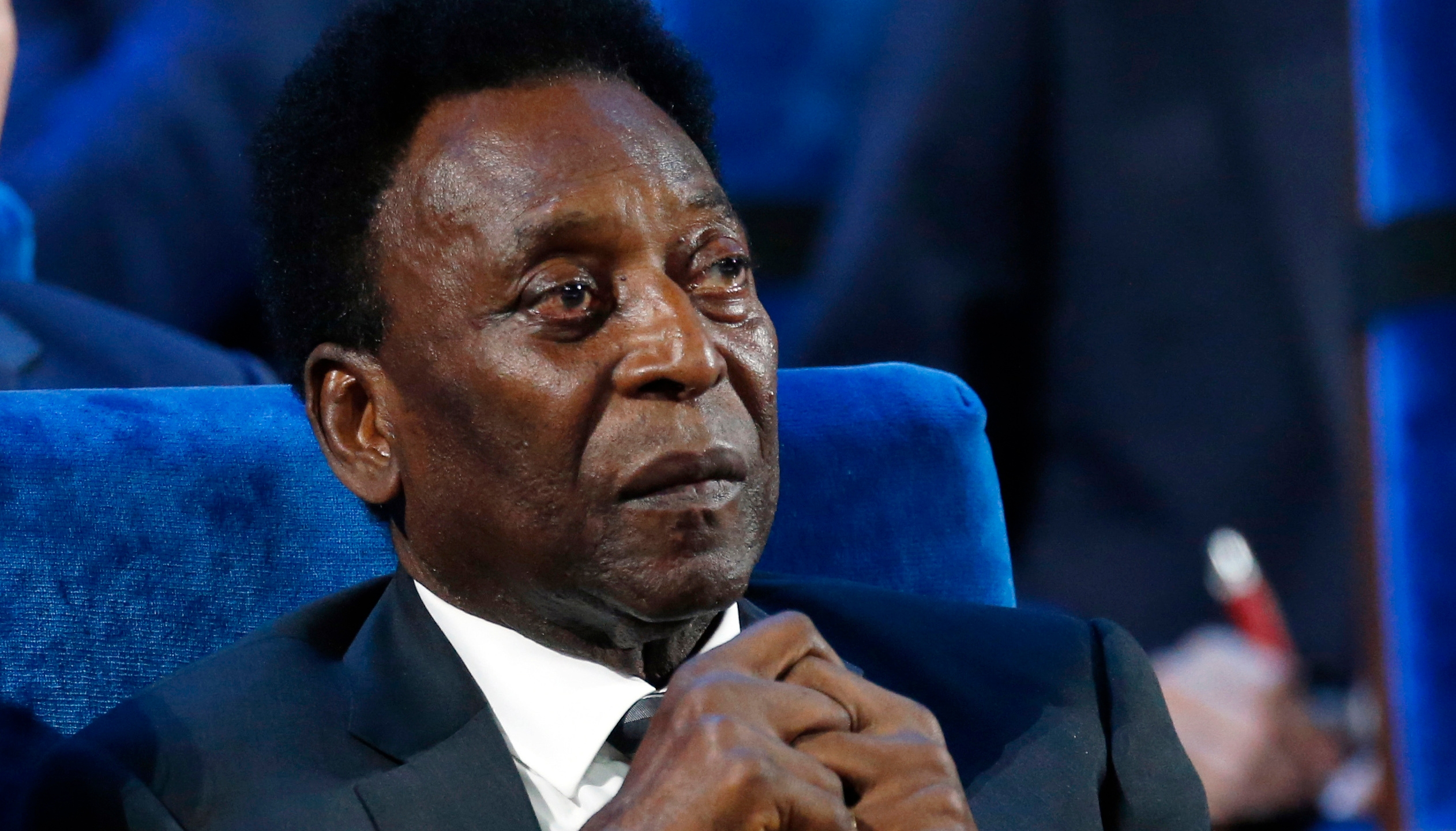 In this Dec. 1, 2017 file photo, Brazilian soccer legend Pele attends the 2018 soccer World Cup draw in the Kremlin in Moscow. On his social media accounts, Pele said on Monday, Sept. 6, 2021 that an apparent tumor on the right side of his colon had been removed in an operation. (AP Photo/Alexander Zemlianichenko)