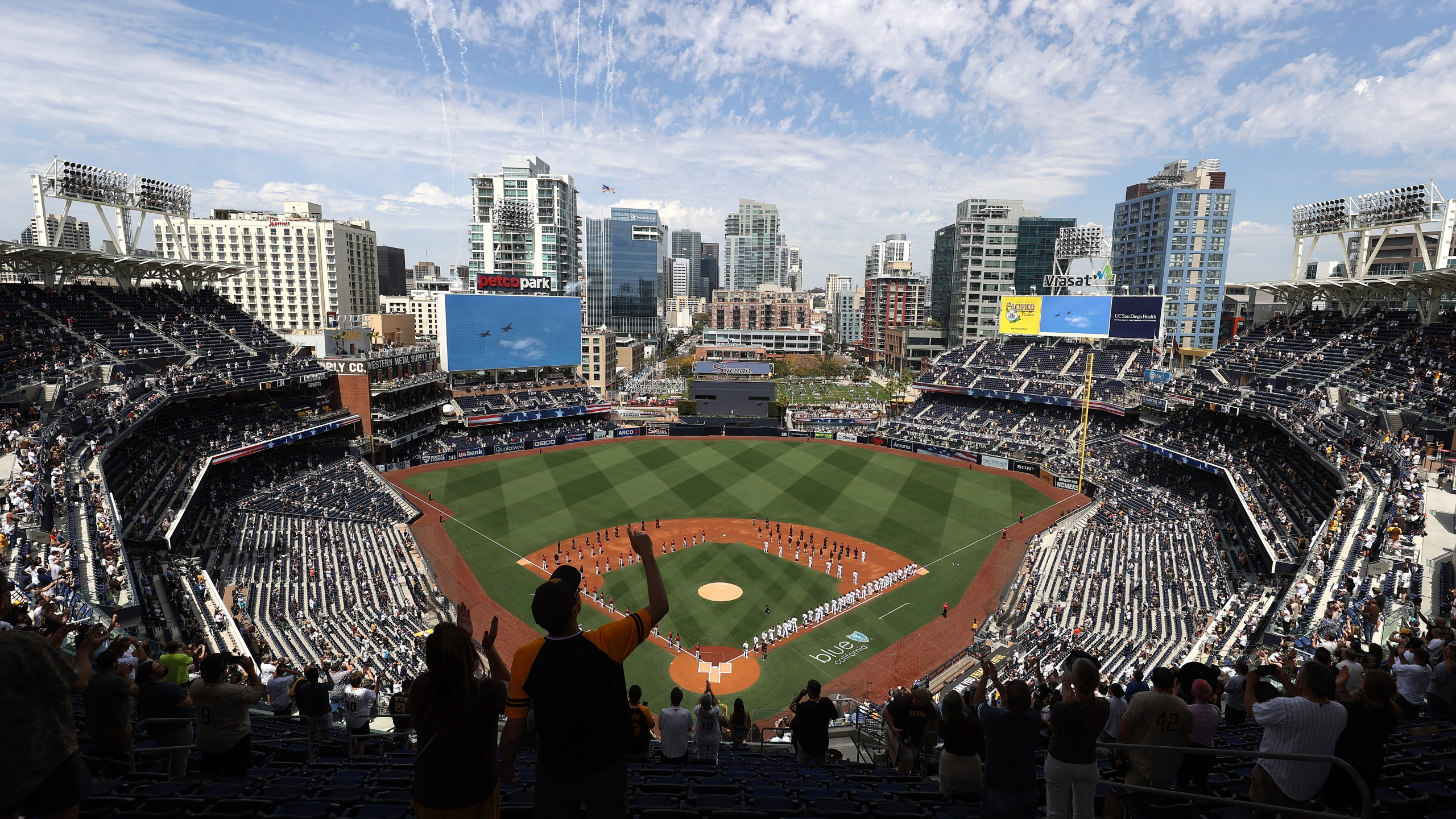 A general view of the stadium as teams were announced prior to a game between the Arizona Diamondbacks and the San Diego Padres on Opening Day at PETCO Park on April 01, 2021 in San Diego, California. (Sean M. Haffey/Getty Images)
