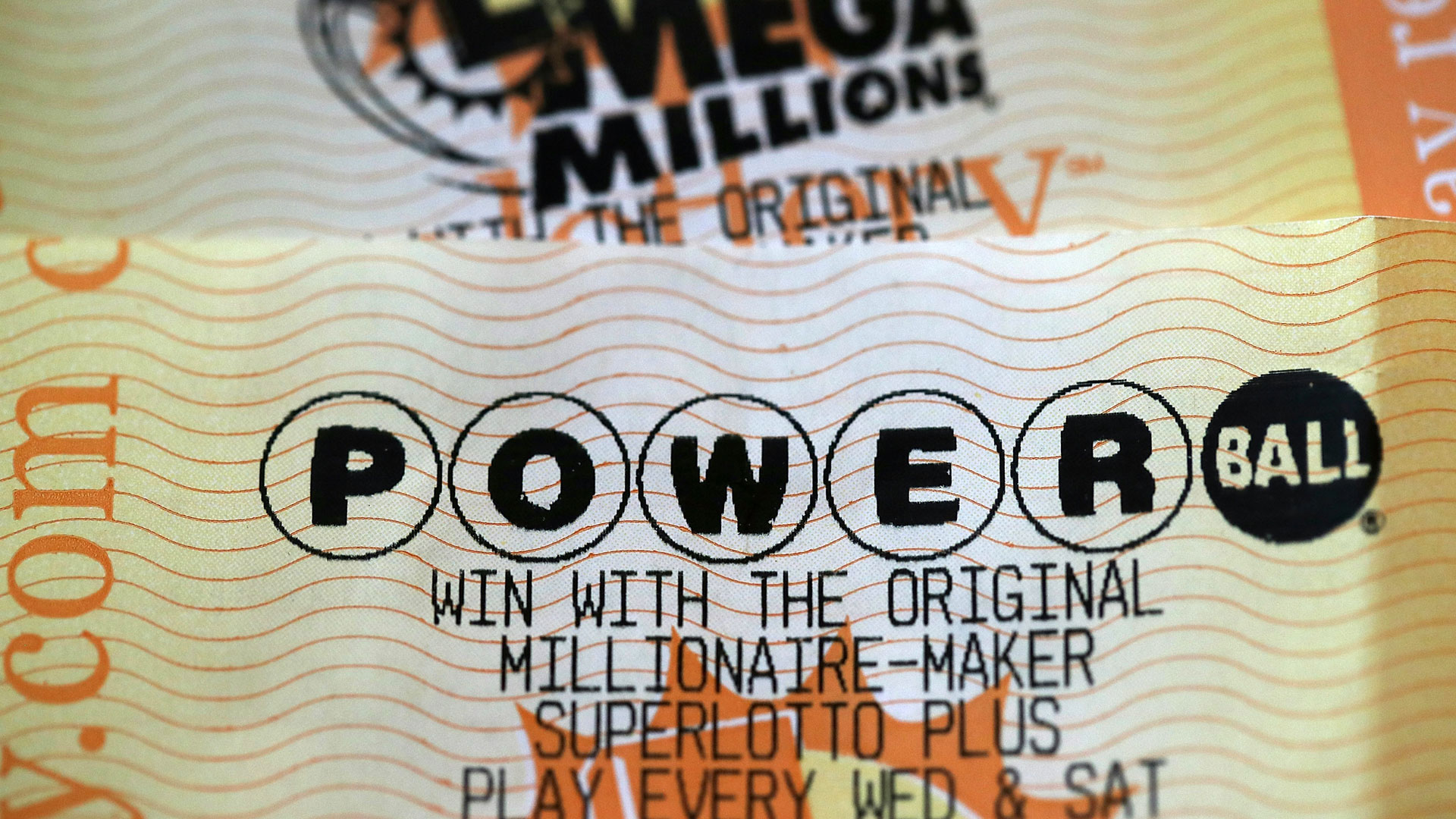 A file photo of a Powerball card. (Justin Sullivan/Getty Images)