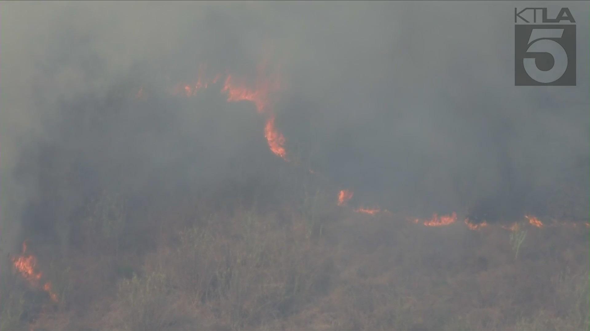 The Rosemead Fire burned in the Whittier Narrow areas on Sept. 24, 2021. (KTLA)