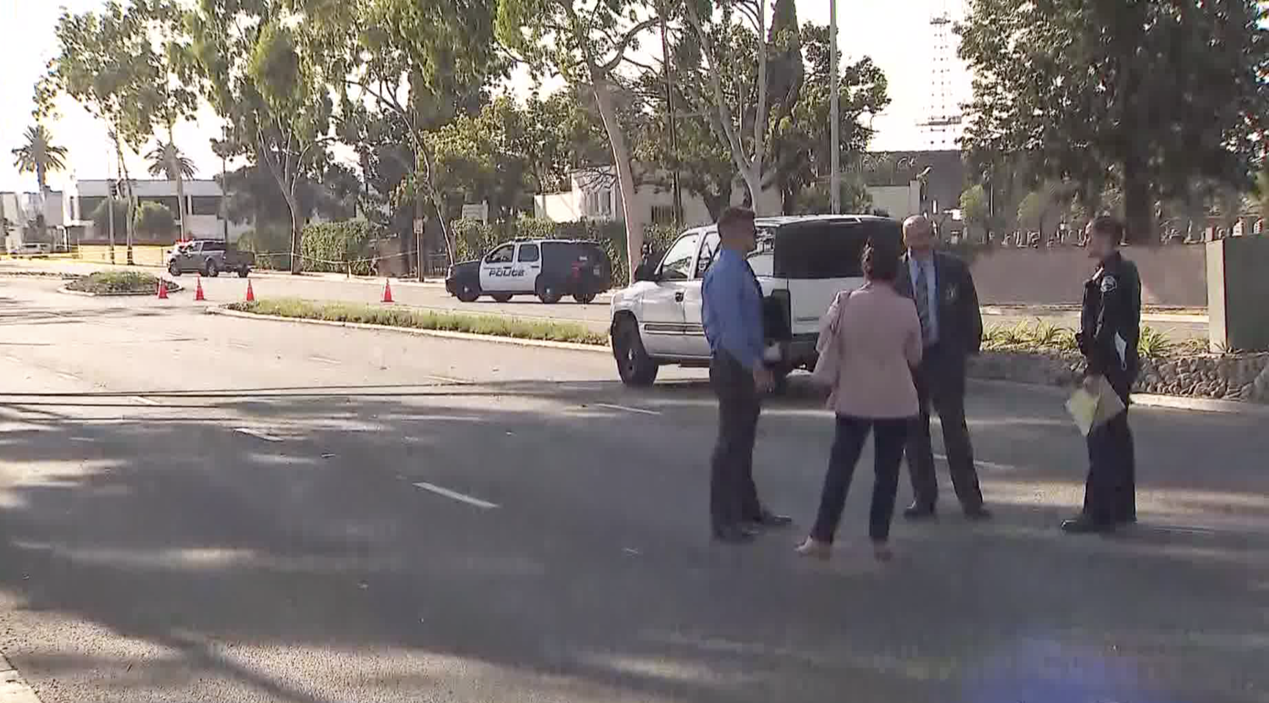 Authorities respond to investigate a deadly police shooting in Signal Hill on Sept. 20, 2021. (KTLA)