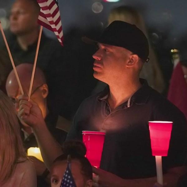 Orange County residents gathered to remember Staff Sgt. Taylor Hoover on Sept. 12, 2021. (KTLA)