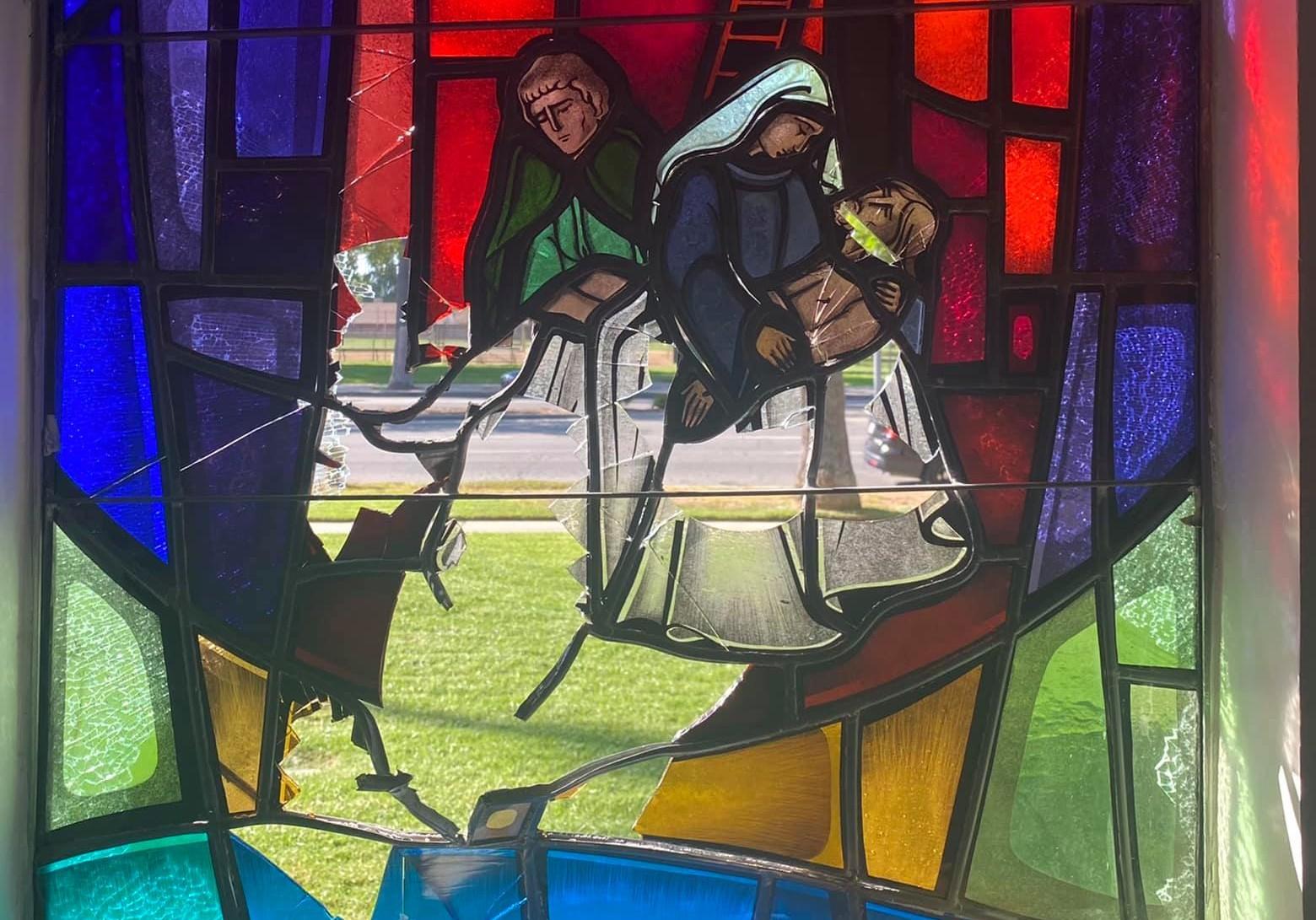 Eight stained glass windows at St. Peter Armenian Apostolic Church were damaged on Sept. 22, 2021. (St. Peter Armenian Apostolic Church)