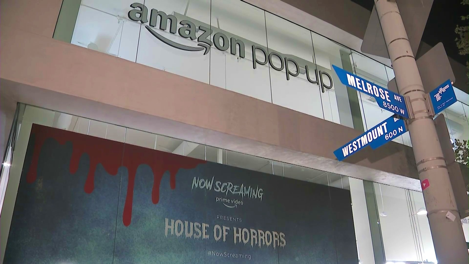 """Amazon's """"House of Horrors"""" pop-up shop is seen in West Hollywood on Sept. 28, 2021. (KTLA)"""
