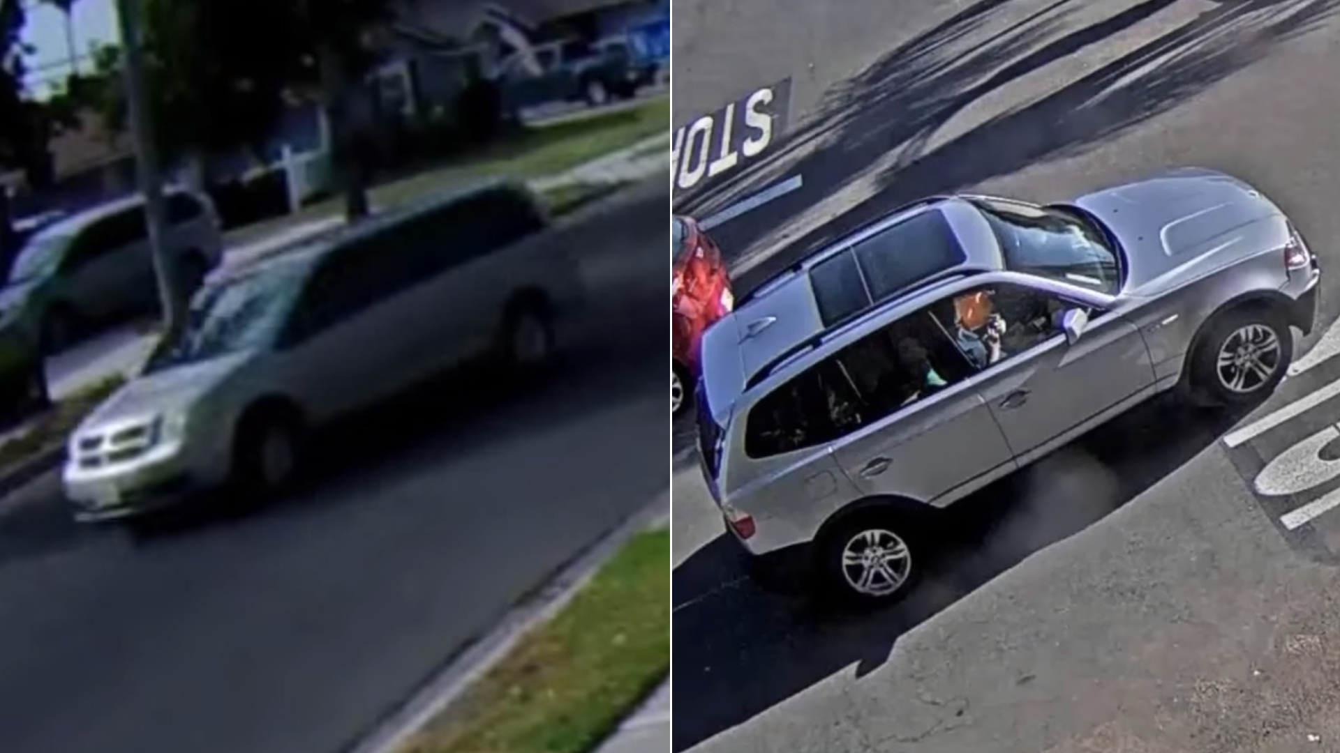 These surveillance images of a minivan and BMW SUV associated with a series of burglaries targeting elderly Anaheim residents were released Sept. 21, 2021, by the Anaheim Police Department.