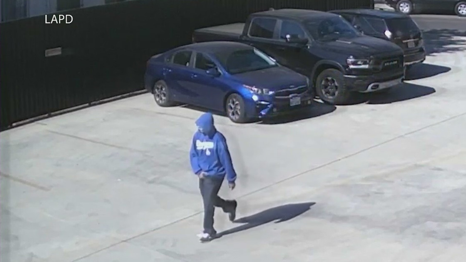 Los Angeles police released surveillance video of the suspected killer during a news conference on Sept. 28, 2021.