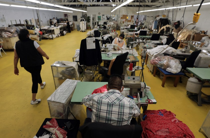 A garment factory is seen in this undated photo. (Myung J. Chun / Los Angeles Times)