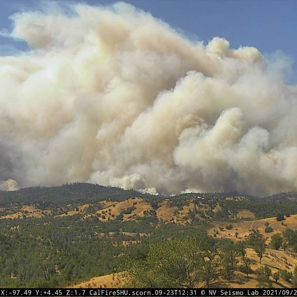 The Fawn Fire burns in Northern California just south of Shasta Lake on Sept. 23, 2021, in an image from Alertwildfire.org.