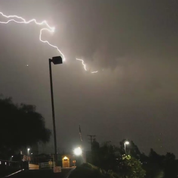 Lightning strikes were seen from Whittier during the early morning hours of Sept. 10, 2021. (RMG News)