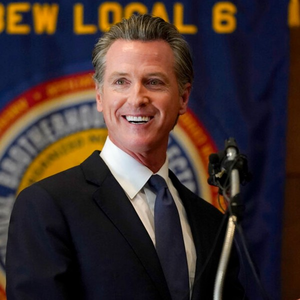 Gov. Gavin Newsom speaks to volunteers in San Francisco, Tuesday, Sept. 14, 2021. (AP Photo/Jeff Chiu)