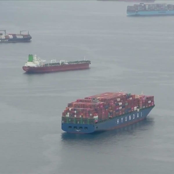 Ships wait offshore at a busy Port of Los Angeles on Sept. 29, 2021. (KTLA)