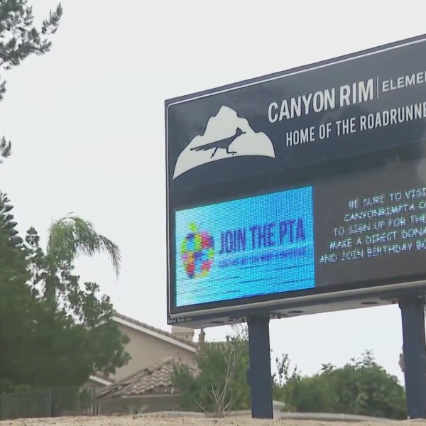 An outbreak of COVID-19 has been reported at Canyon Rim Elementary School at Anaheim. (KTLA)
