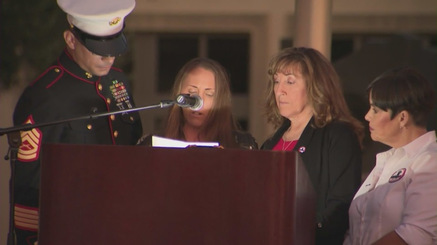 Lance Cpl. Dylan Merola's mother Cheryl Rex speaks during a remembrance in Rancho Cucamonga on Sept. 2, 2021. (KTLA)