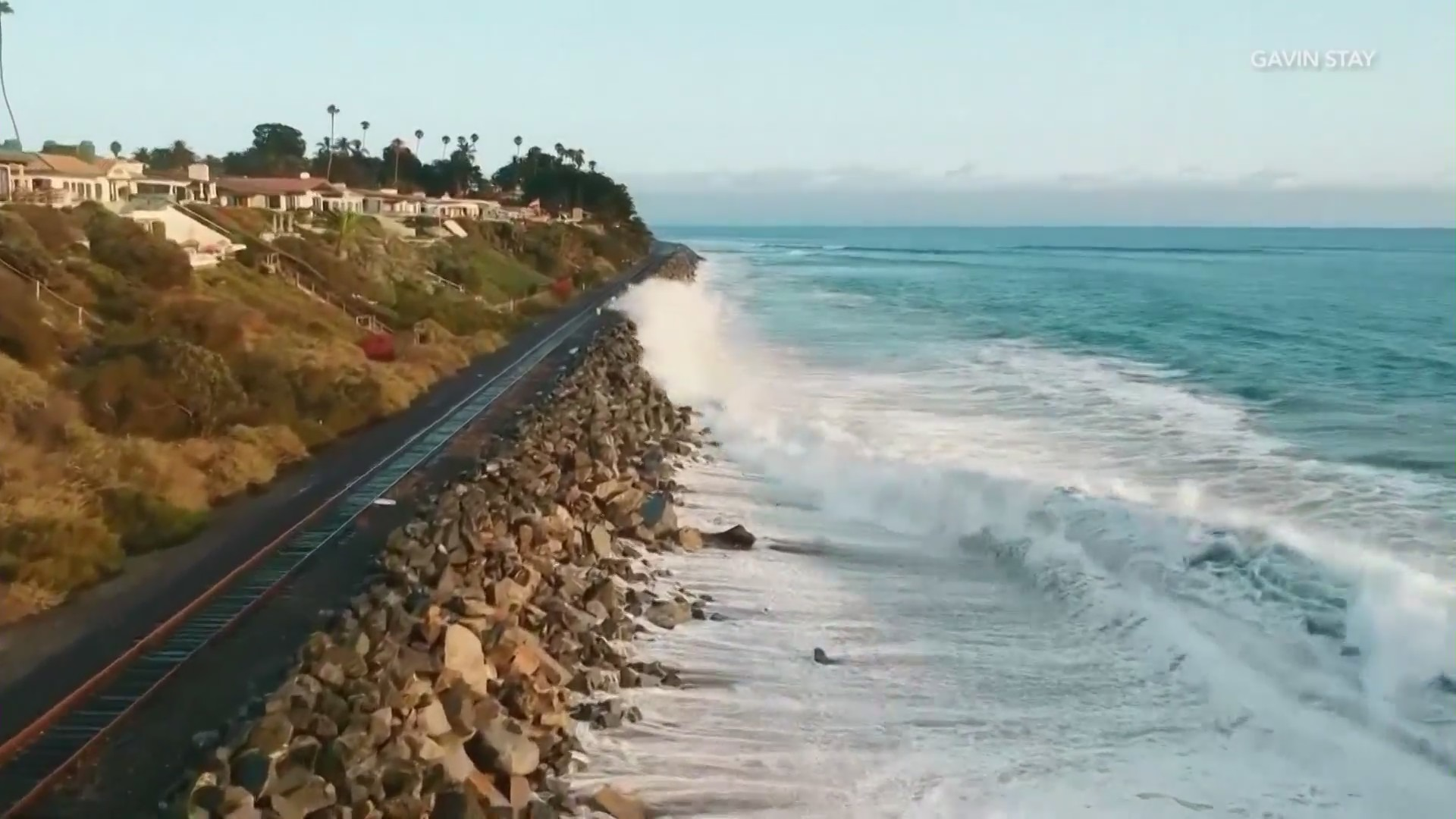 This Aug. 19. 2021, image shows large swell and high tide hitting against train tracks in San Clemente. (Gavin Stay)