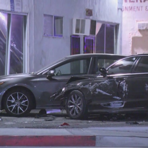 The site of a crash that followed a shooting in El Monte on Sept. 20, 2021. (KTLA)