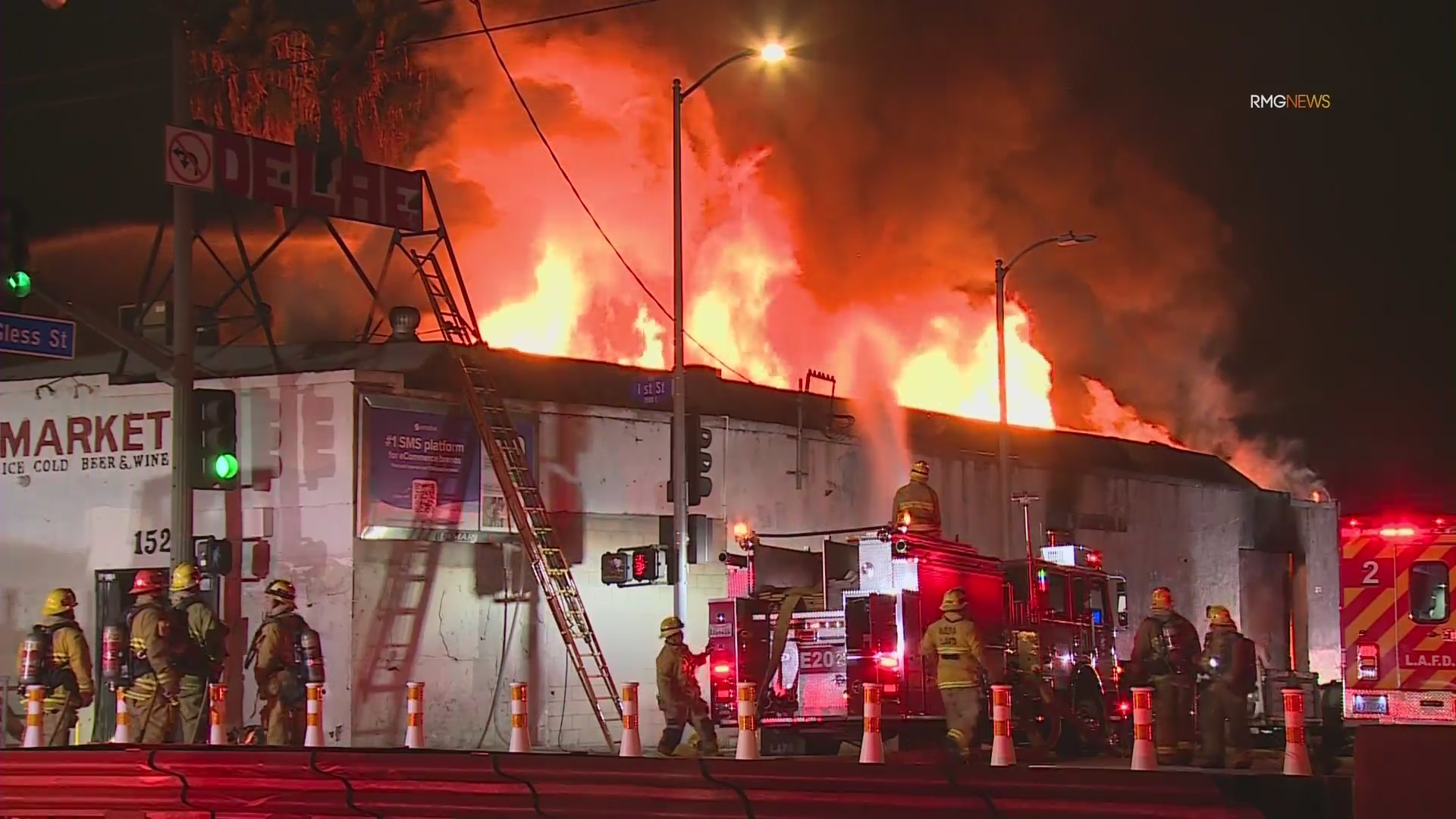 Firefighters respond to a structure fire in Boyle Heights on Sept. 28, 2021. (RMG News)