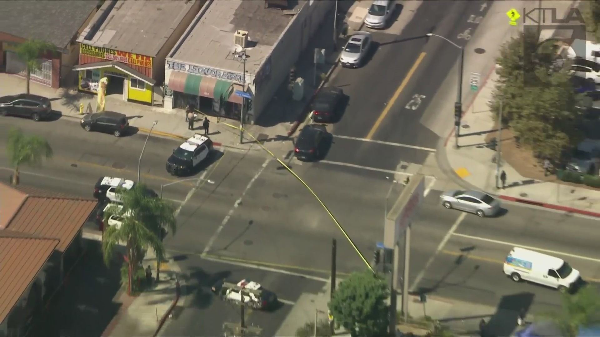 Authorities investigate the scene of a police shooting that left a man wounded in East Los Angeles on Sept. 3, 2021. (KTLA)