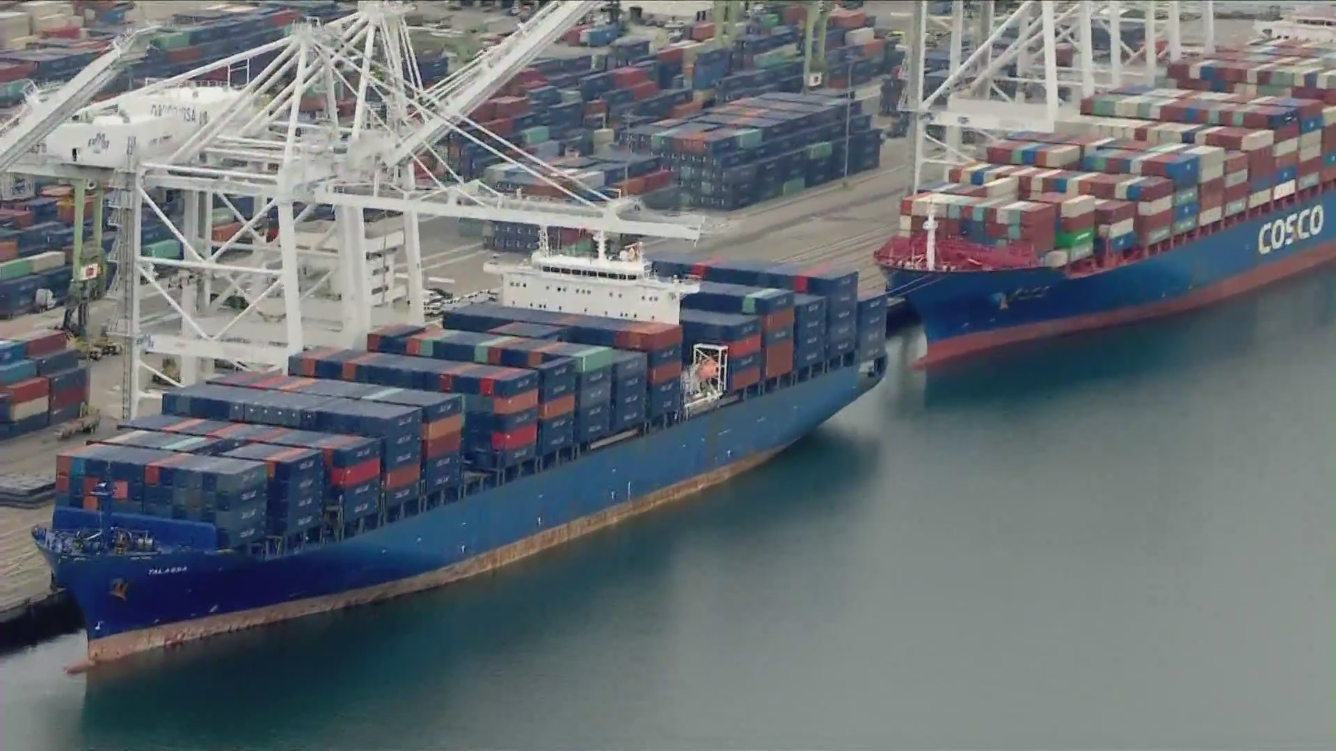 Container ships are seen in the Port of Long Beach in this file image. (KTLA)