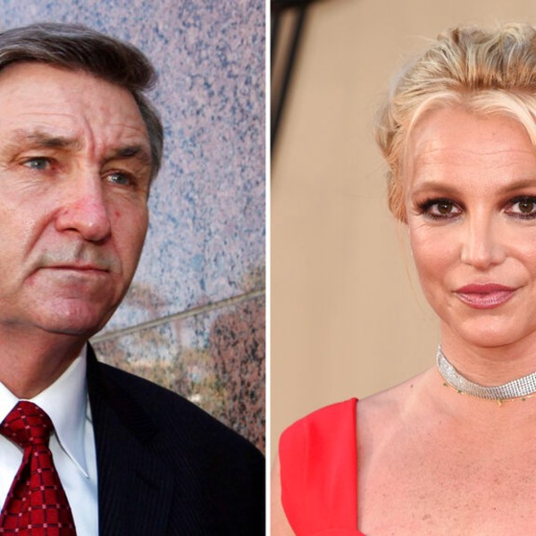 """In this combination photo, Jamie Spears, father of singer Britney Spears, leaves the Stanley Mosk Courthouse on Oct. 24, 2012, in Los Angeles, left, and Britney Spears arrives at the premiere of """"Once Upon a Time in Hollywood"""" on July 22, 2019, in Los Angeles. (AP Photo)"""