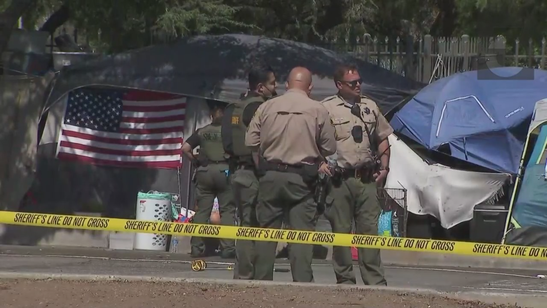 Authorities remained at the scene of a fatal stabbing in the Brentwood area on Sept. 15, 2021. (KTLA)