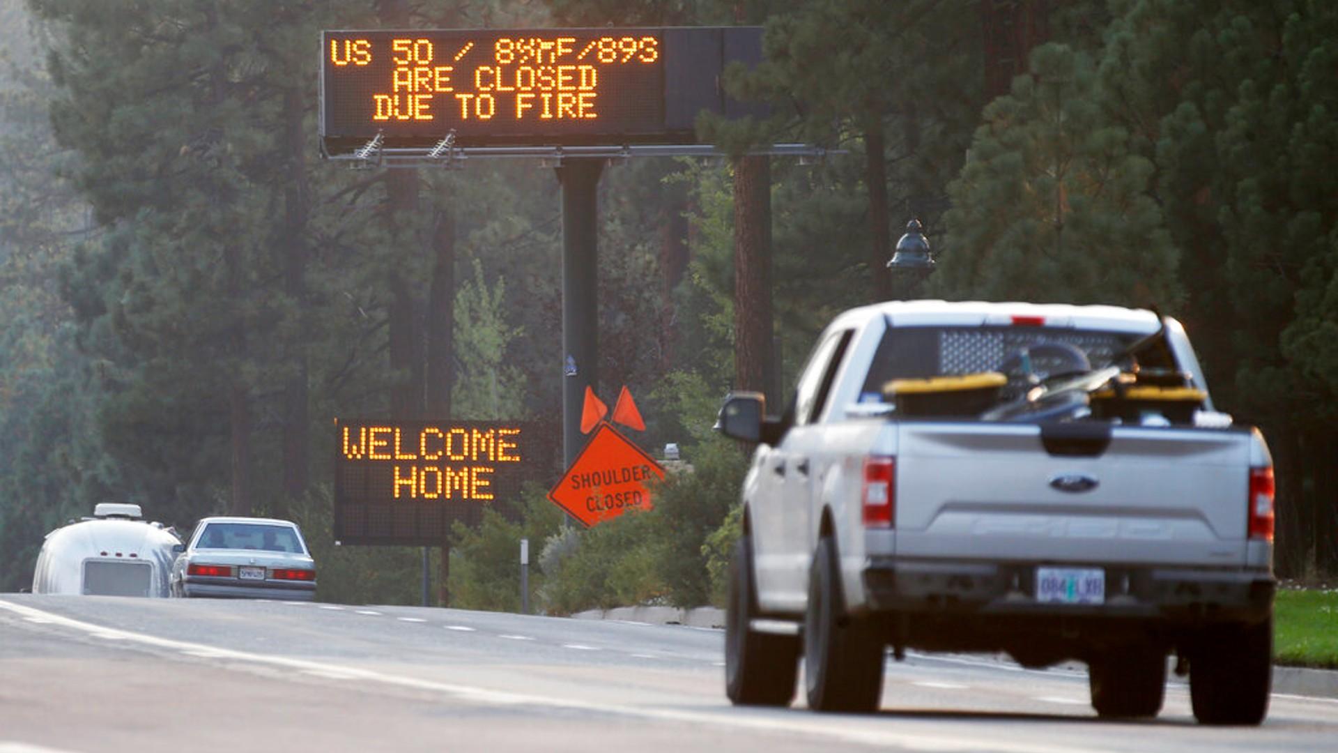 Traffic flows along Highway 50 in South Lake Tahoe, Calif., Sunday, Sept. 5, 2021. (Jane Tyska/Bay Area News Group via AP)