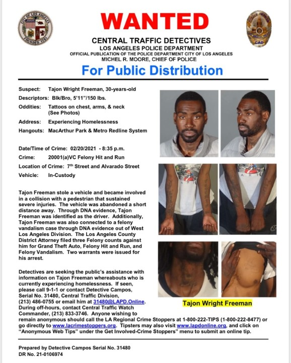 LAPD on Sept. 17, 2021, released this bulletin as they searched for a suspect in a downtown L.A. hit-and-run collision.